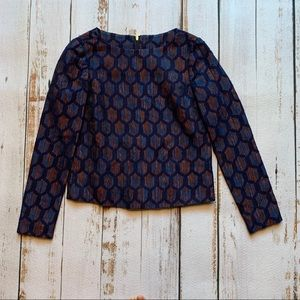 Tory Burch Blue and Orange Pattern blouse